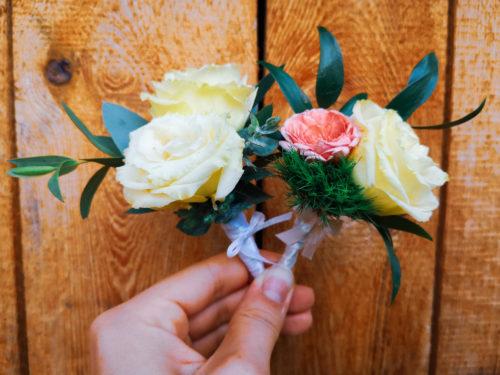 morelowy bukiet ślubny